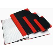 Kinabok A6 linjert innbundet sort/rød