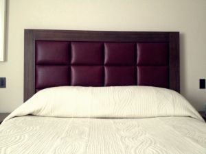 Wooden Leather Headboard - Material Concepts Battersea