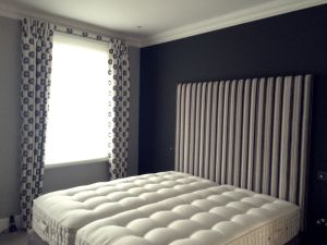 Vertical White Black Striped Headboard Material Concepts