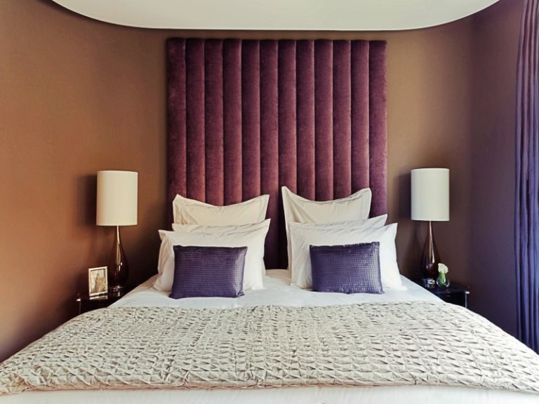 Purple Velvet Vertical Headboard-Material Concepts
