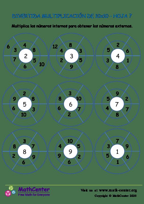 Multiplicación Divertida Para 10X10 Hoja 7