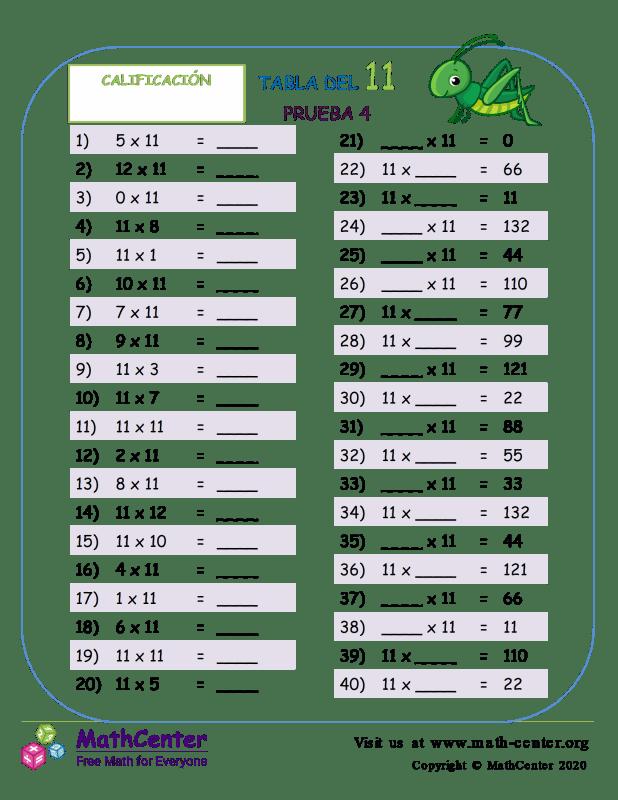 11 Prueba de tablas de multiplicar 4