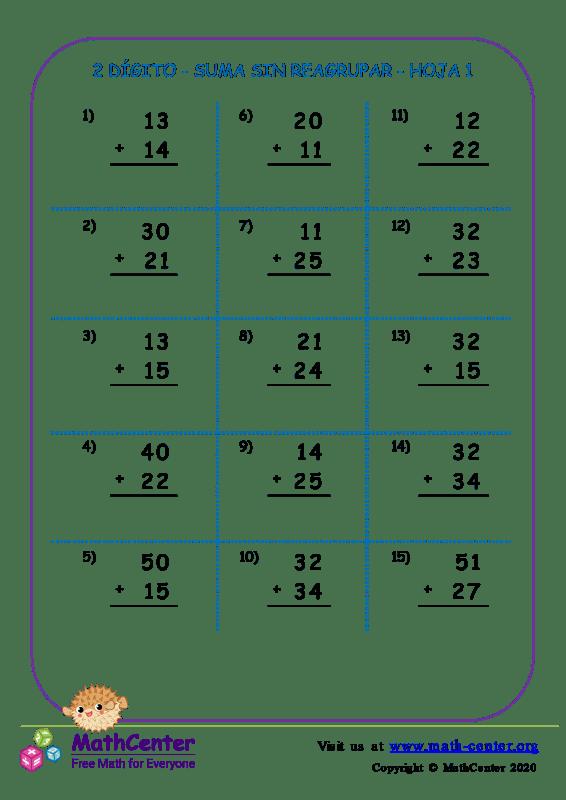 2 Dígito - Suma Sin Reagrupar - Hoja 1