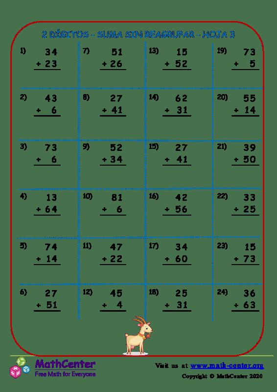 2 Dígito - Suma Sin Reagrupar - Hoja 3