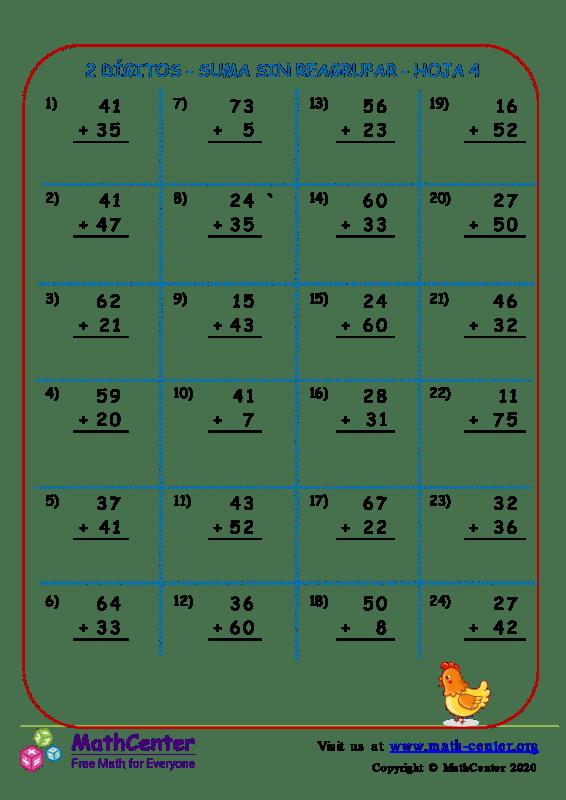 2 Dígito - Suma Sin Reagrupar - Hoja 4
