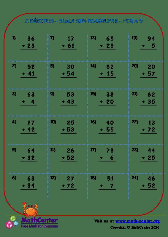 2 Dígito - Suma Sin Reagrupar - Hoja 5