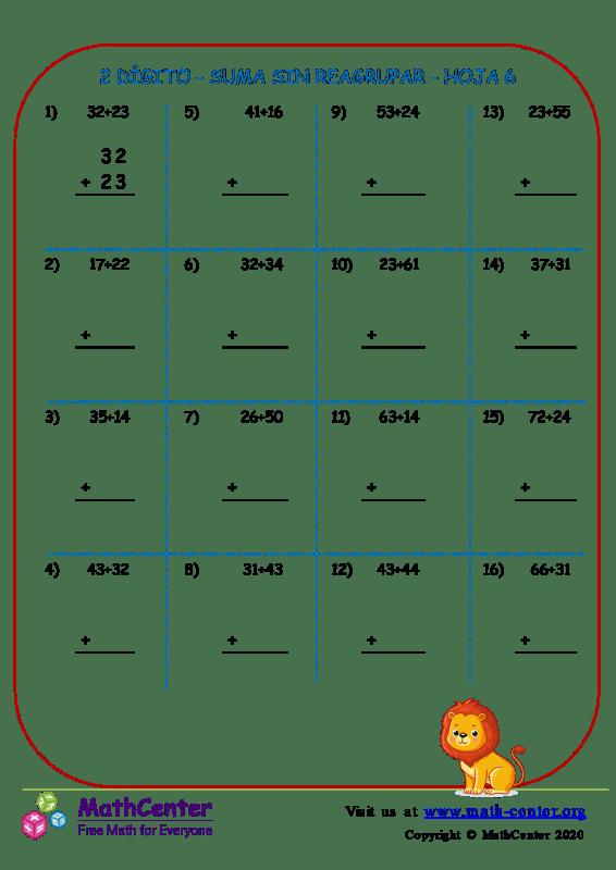 2 Dígito - Suma Sin Reagrupar - Hoja 6