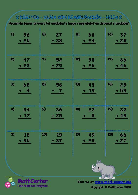 2 Dígito - Suma Con Reagrupación - Hoja 2