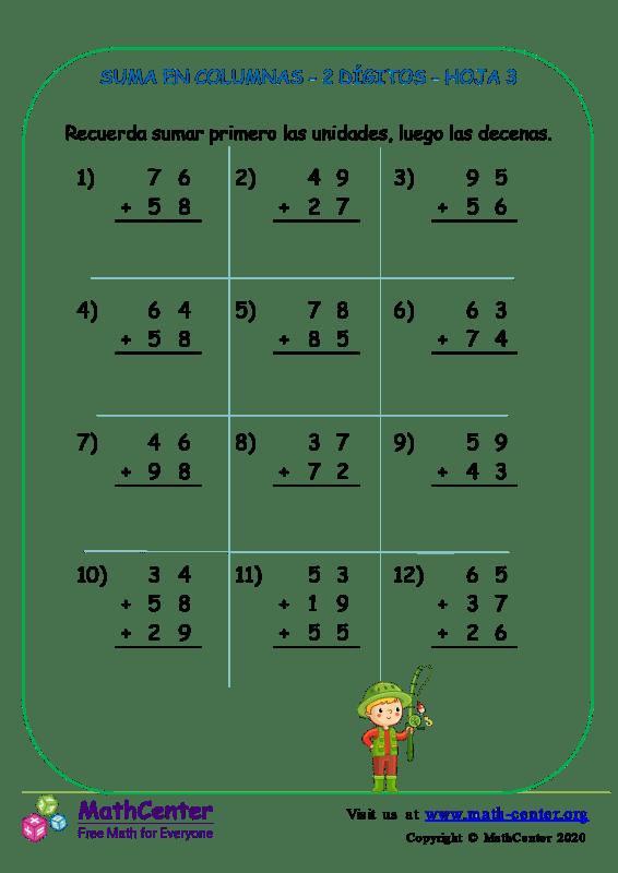 Suma En Columna 2 Dígitos Hoja 3