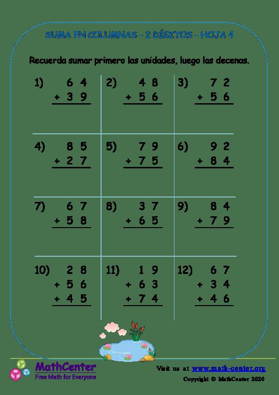 Suma En Columna 2 Dígitos Hoja 4