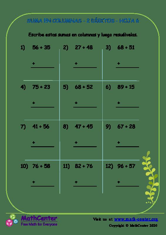Suma En Columna 2 Dígitos Hoja 6