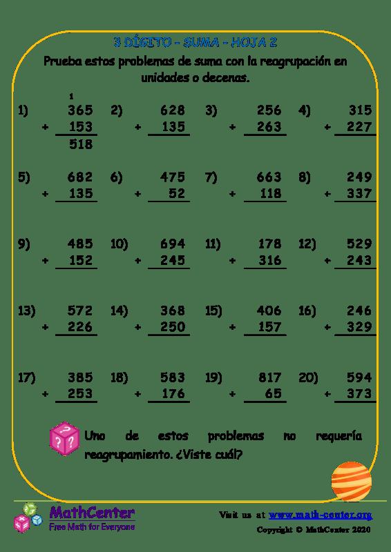 3 Dígito - Suma - Hoja 2