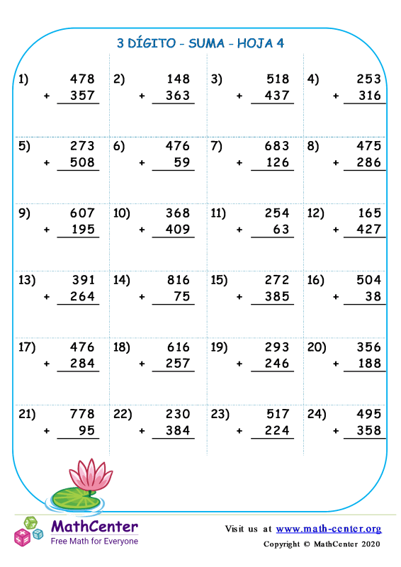 3 Dígito - Suma - Hoja 4