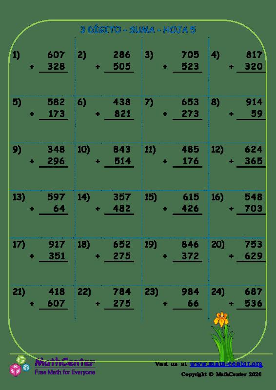 3 Dígito - Suma - Hoja 5