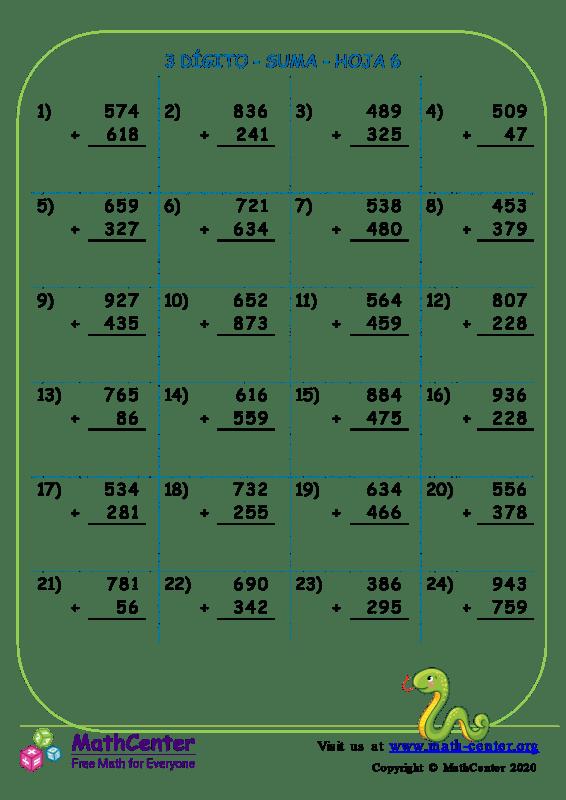 3 Dígito - Suma - Hoja 6