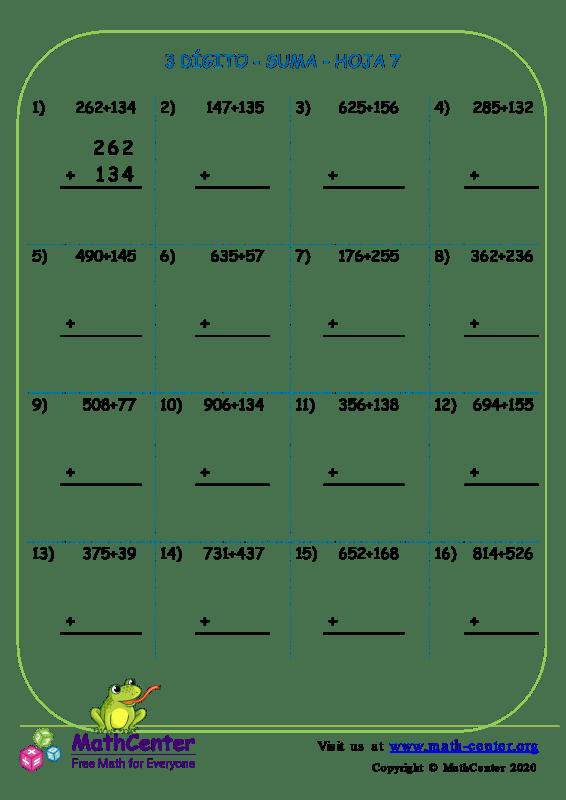 3 Dígito - Suma - Hoja 7