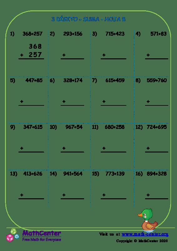 3 Dígito - Suma - Hoja 8