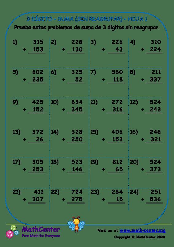 3 Dígito - Suma (Sin Reagrupar) - Hoja 1