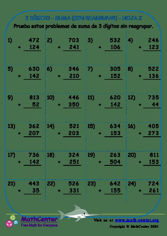 3 Dígito - Suma (Sin Reagrupar) - Hoja 2