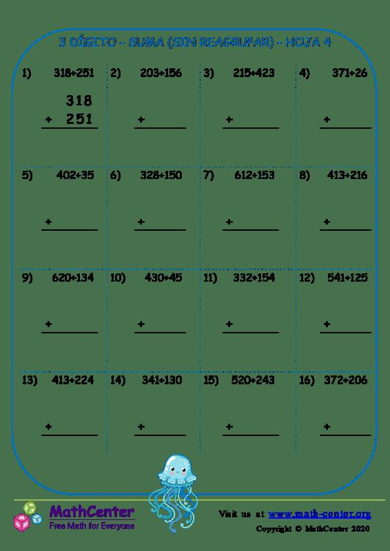 3 Dígito - Suma (Sin Reagrupar) - Hoja 4