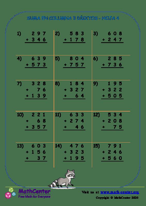 Suma de columna 3 dígitos (pidiendo prestado) - Hoja 4