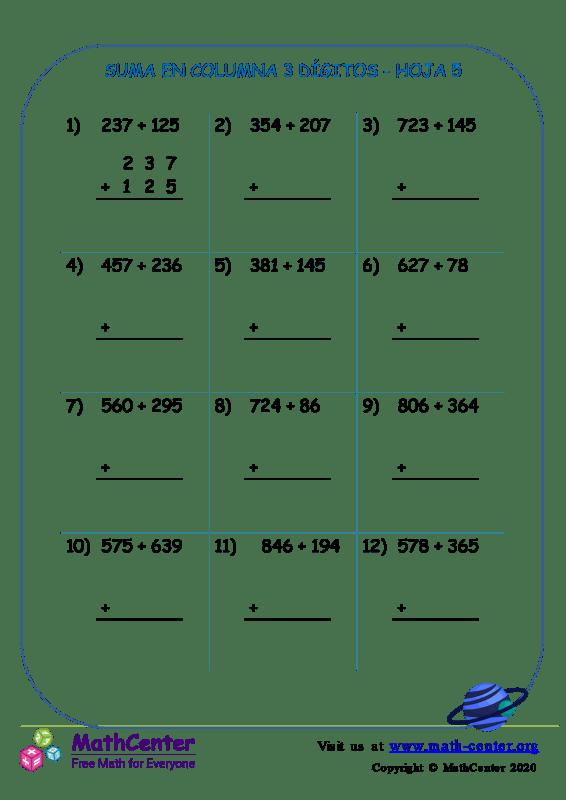 Suma de columna 3 dígitos (pidiendo prestado) - Hoja 5
