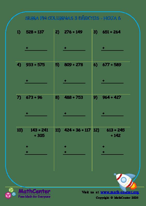 Suma de columna 3 dígitos (pidiendo prestado) - Hoja 6