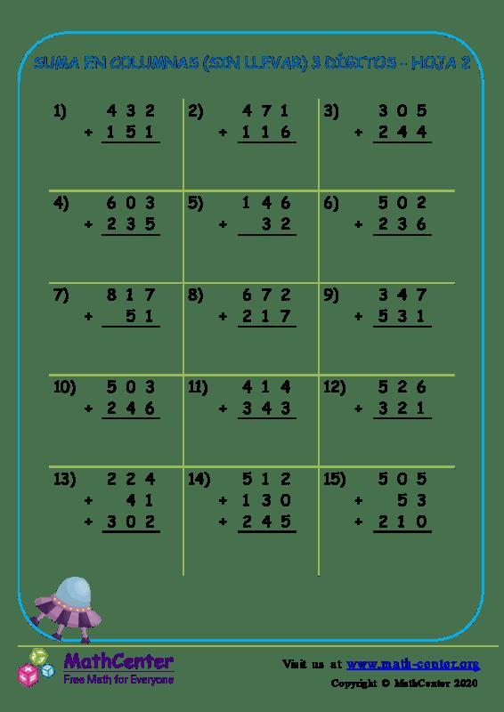 Suma En Columna (Sin Llevar) 3 Dígitos Hoja 2