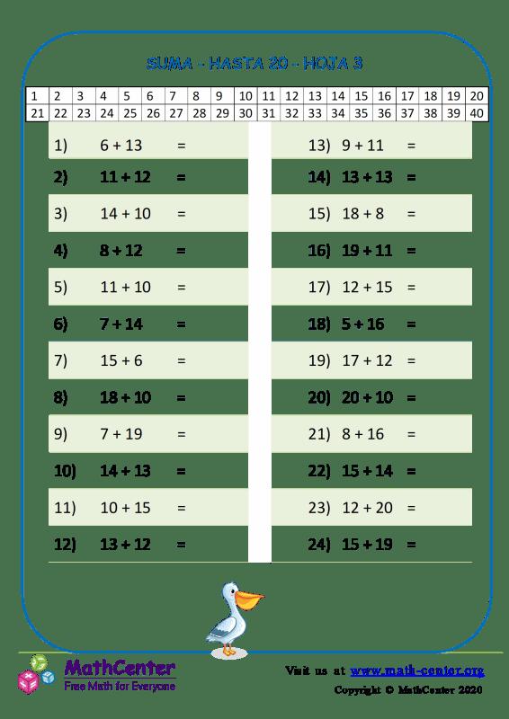 Suma - Hasta 20 Hoja 3