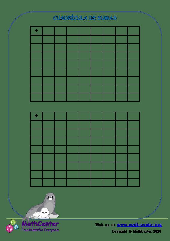 Plantilla de cuadrícula de Suma