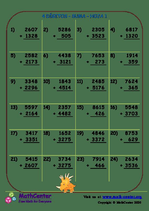 4 Dígito - Suma - Hoja 1