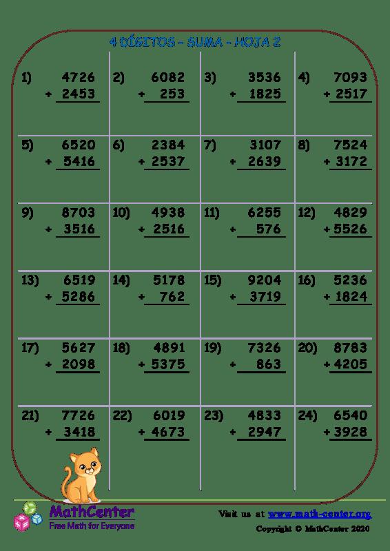 4 Dígito - Suma - Hoja 2