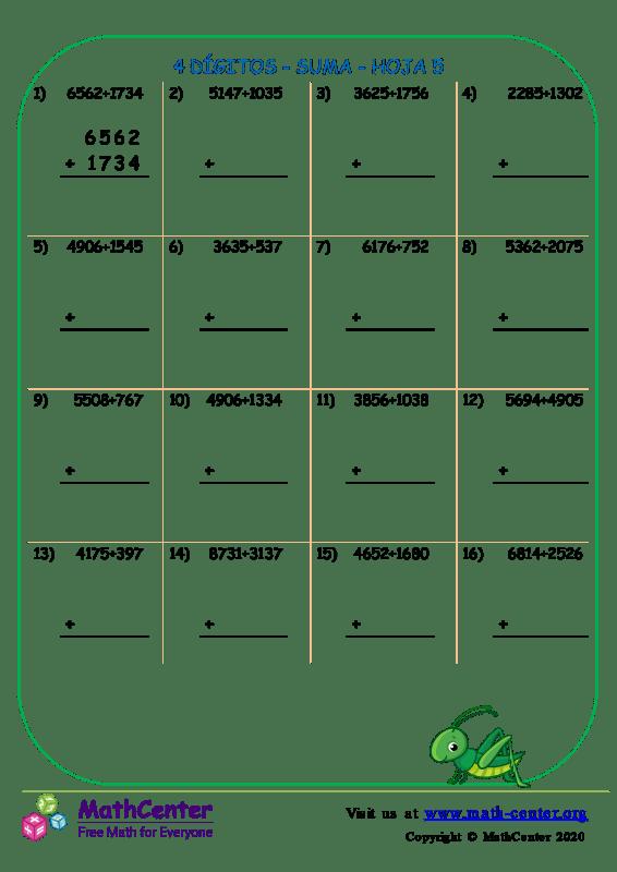 4 Dígito - Suma - Hoja 5