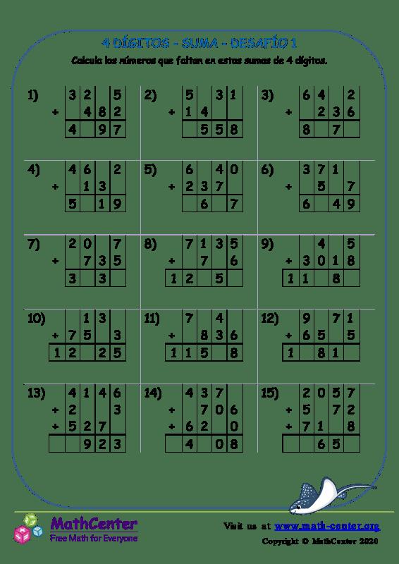 4 Dígito - Suma - Desafío 1
