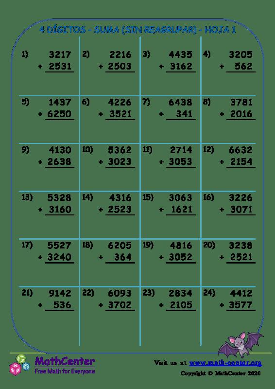 4 Dígito - Suma (Sin Reagrupar) - Hoja 1