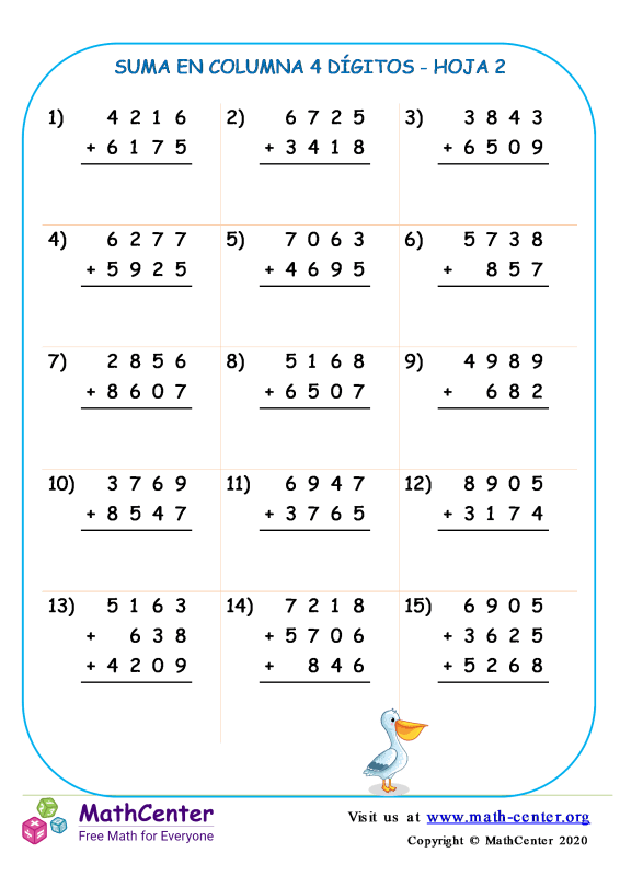 Suma En Columna 4 Dígitos Hoja 2