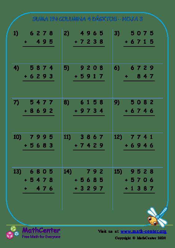 Suma En Columna 4 Dígitos Hoja 3