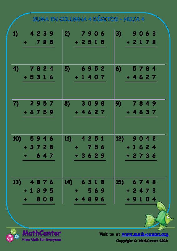 Suma En Columna 4 Dígitos Hoja 4