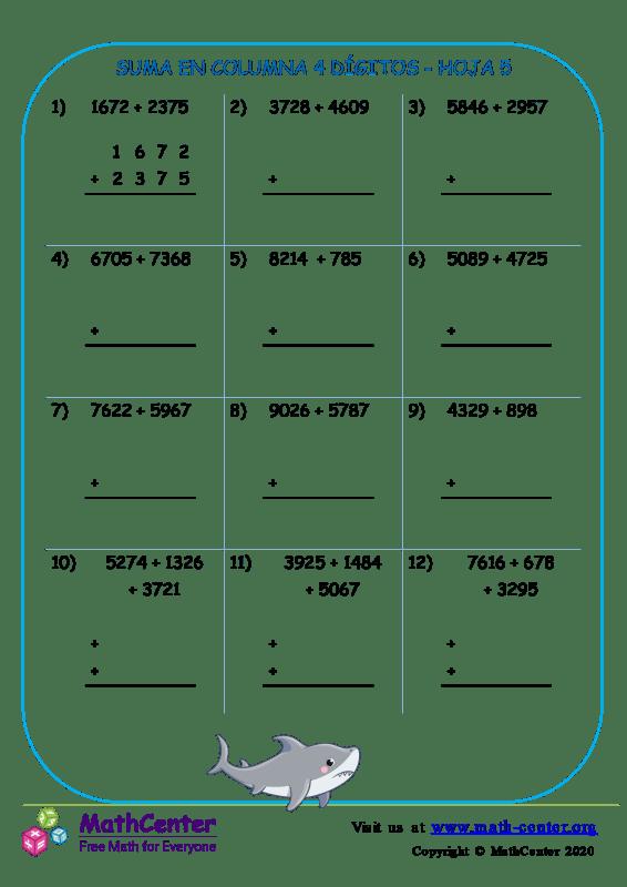 Suma En Columna 4 Dígitos Hoja 5