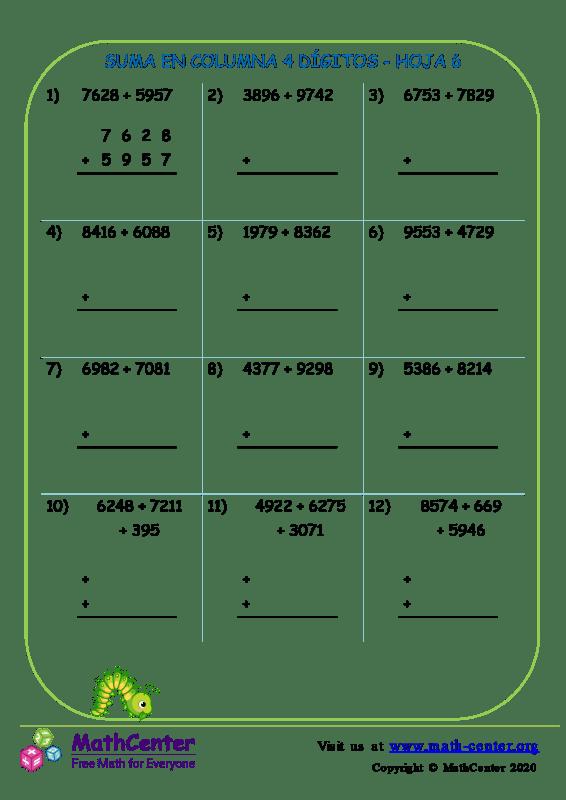 Suma En Columna 4 Dígitos Hoja 6