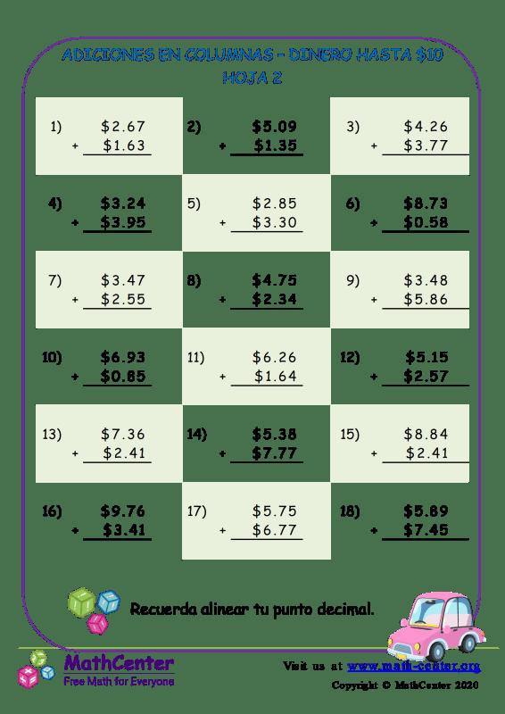 Suma en columnas de dinero estadounidense hasta $ 10 - Hoja 2