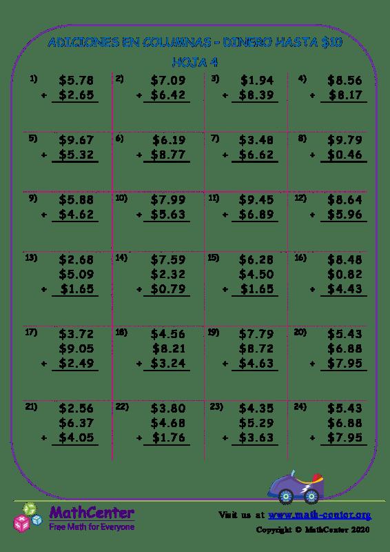 Suma en columnas de dinero estadounidense hasta $ 10 - Hoja 4