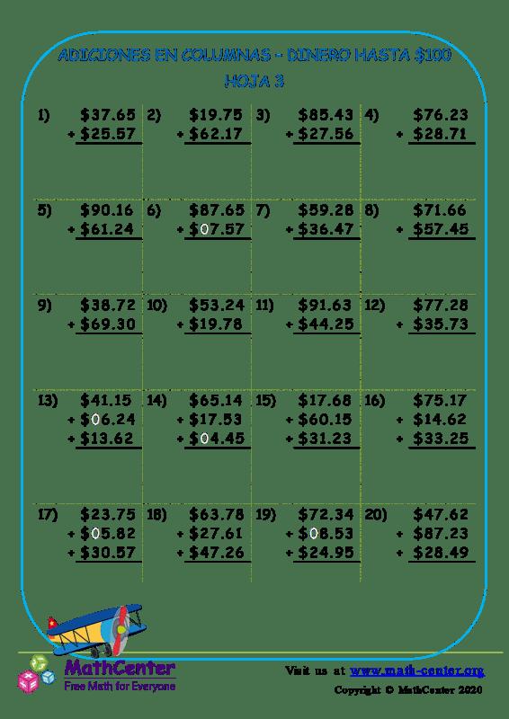 Suma en columnas de dinero estadounidense hasta $ 100 - Hoja 3