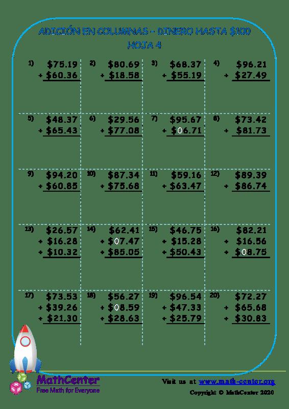 Suma en columnas de dinero estadounidense hasta $ 100 - Hoja 4