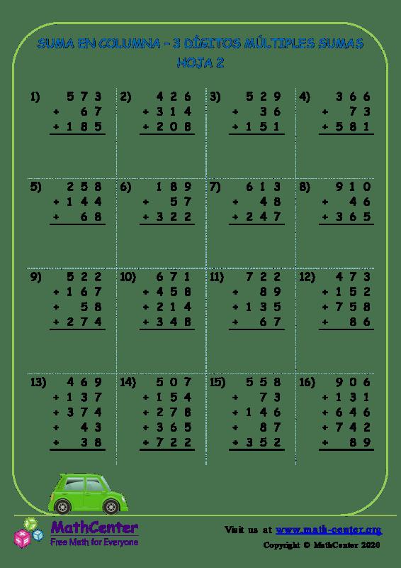 Suma En Columna 3 Dígitos Múltiples Sumas Hoja 2