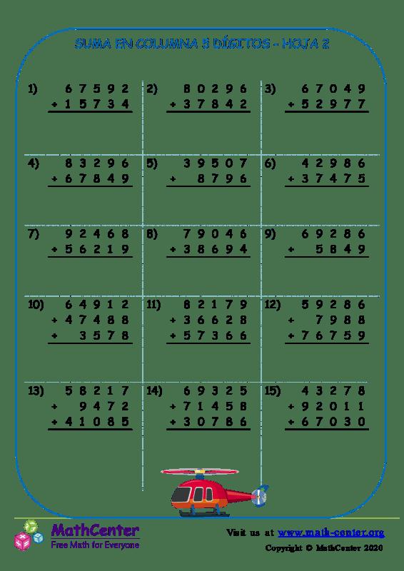 Suma En Columna 5 Dígitos Hoja 2