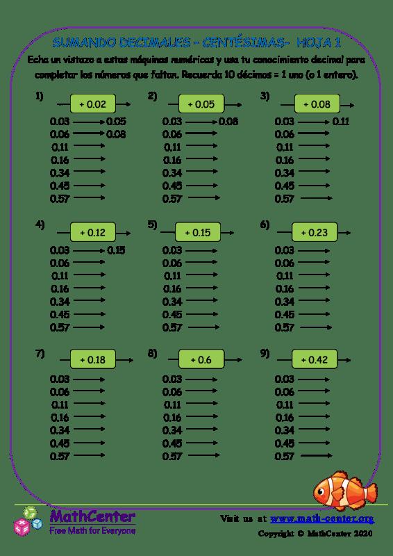 Sumando Decimales - Centésimas Hoja 1
