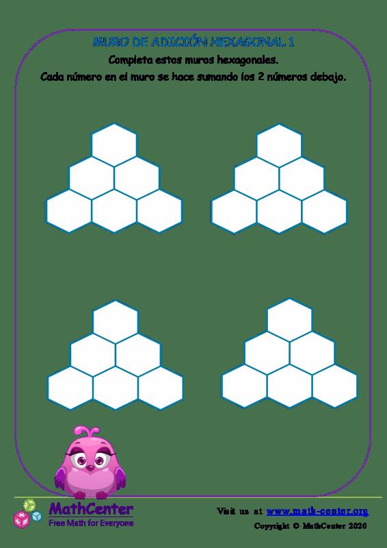Plantilla de muro de sumas hexagonal Nº 1