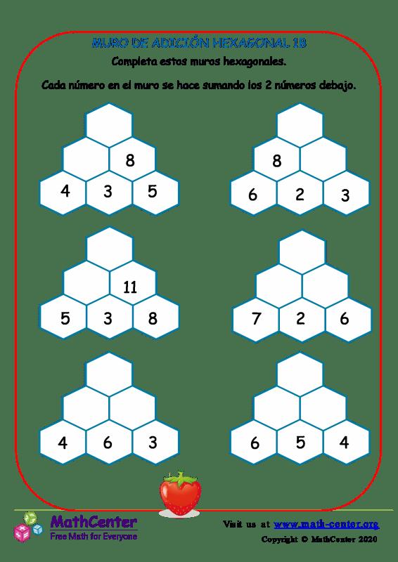 Muro de sumas hexagonal - Hoja 1 B