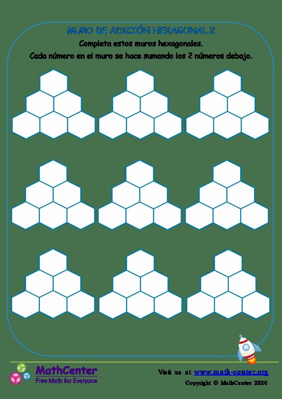Plantilla de muro de sumas hexagonal Nº 2